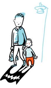 en pappa håller ett litet barni handen under en lyktstolpe